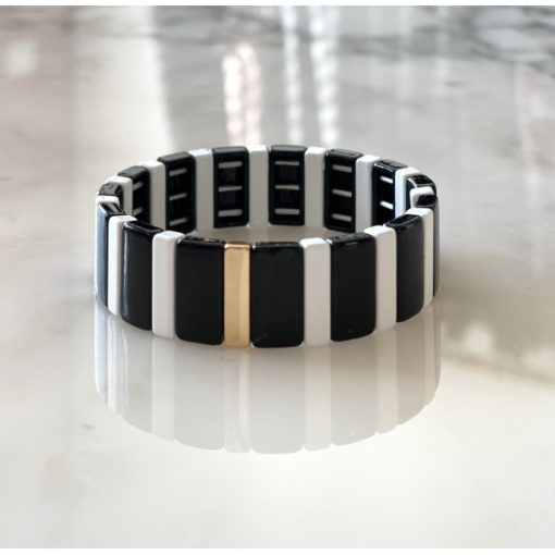 Bracelet large blanc noir