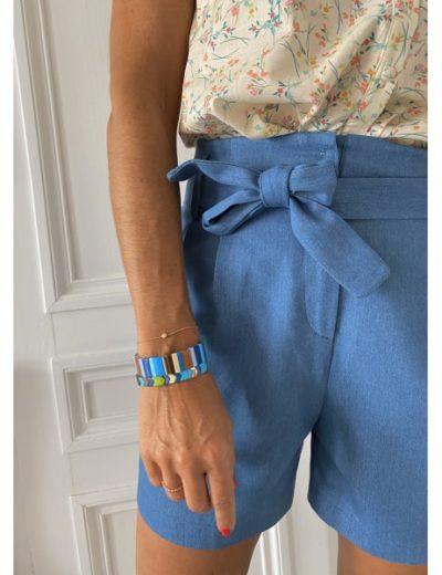 Bracelet large multico bleu